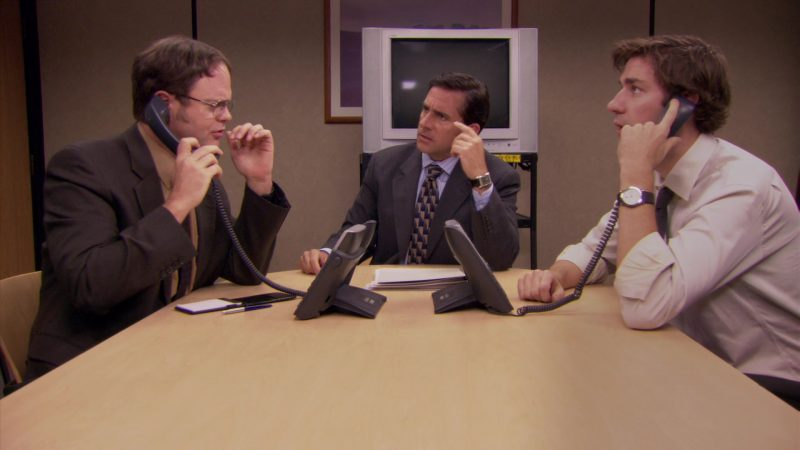 "Cisco Phones Used by Steve Carell (Michael Scott), Rainn Wilson (Dwight Schrute) & John Krasinski (Jim Halpert) in The Office – Season 5, Episode 7, ""Customer Survey"" (2008) TV Show Product Placement"