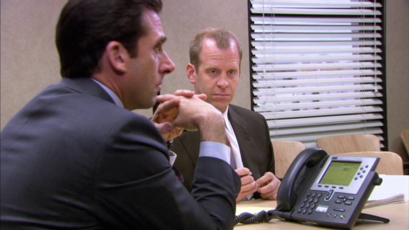 "Cisco Systems IP Phone Used by Steve Carell (Michael Scott) and Paul Lieberstein (Toby Flenderson) in The Office – Season 3, Episode 19, ""The Negotiation"" (2007) - TV Show Product Placement"