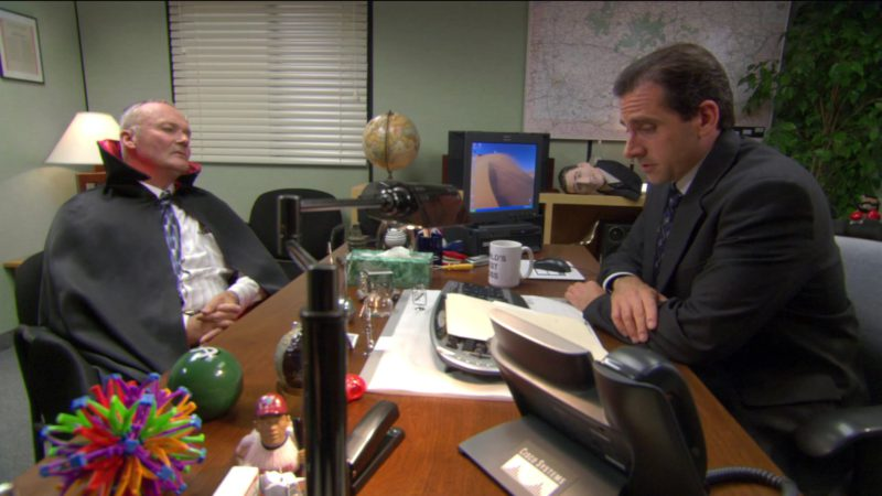 """Cisco Telephone Used by Steve Carell (Michael Scott) in The Office – Season 2, Episode 5, """"Halloween"""" (2005) - TV Show Product Placement"""