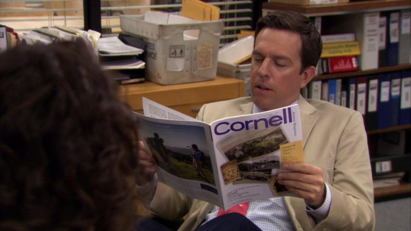 """Cornell Alumni Magazine Held by Ed Helms (Andy Bernard) in The Office – Season 7, Episode 5, """"The Sting"""" (2010) - TV Show Product Placement"""