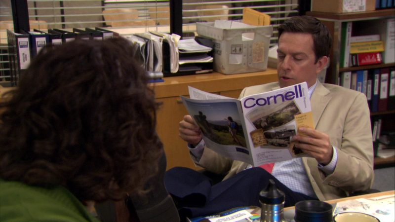"""Cornell Alumni Magazine Held by Ed Helms (Andy Bernard) in The Office – Season 7, Episode 5, """"The Sting"""" (2010) TV Show Product Placement"""