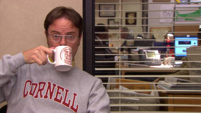 "Cornell Sweatshirt and Mug Held by Rainn Wilson (Dwight Schrute) in The Office – Season 5, Episode 6, ""Employee Transfer"" (2008) TV Show Product Placement"