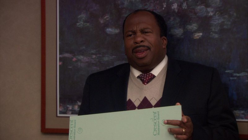 "Crescent Illustration Board Held by Leslie David Baker (Stanley Hudson) in The Office – Season 8, Episode 8, ""Gettysburg"" (2011) - TV Show Product Placement"