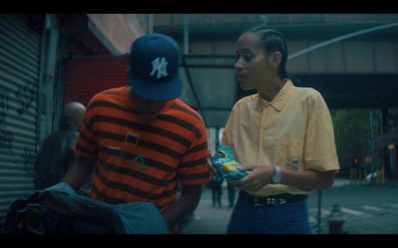 Fila Orange Striped T-Shirt and Wise Potato Chips in When They See Us (1)