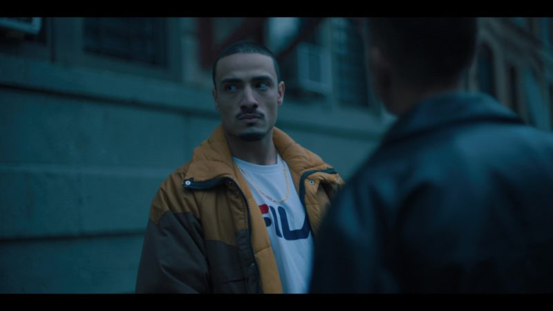 Fila T-Shirt Worn by Freddy Miyares in When They See Us - Season 1, Episode 3 (2019) TV Show Product Placement