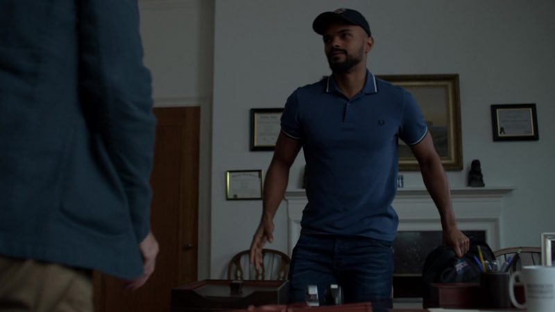 "Fred Perry Blue Polo Shirt Worn by Eka Darville in Jessica Jones - Season 3, Episode 3, ""A.K.A I Have No Spleen"" (2019) - TV Show Product Placement"