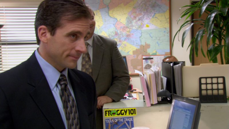 "Froggy 101 FM Scranton Radio Station Sticker  in The Office – Season 2, Episode 2, ""Sexual Harassment"" (2005) - TV Show Product Placement"