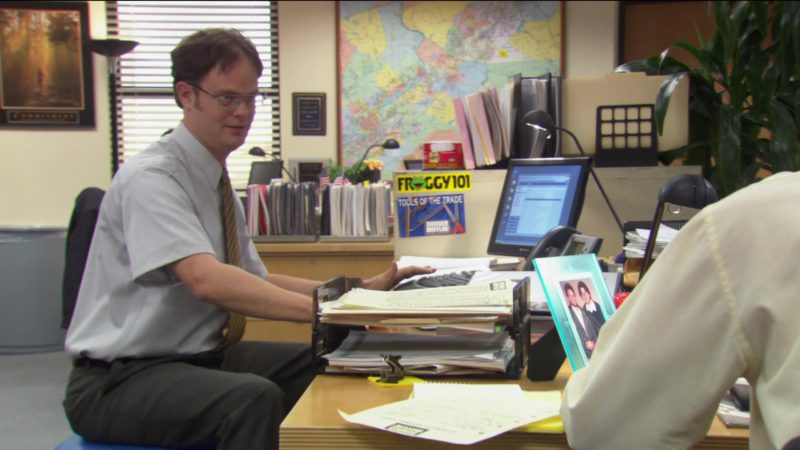"""Froggy 101 FM Scranton Radio Station Sticker in The Office – Season 2, Episode 8, """"Performance Review"""" (2005) TV Show Product Placement"""