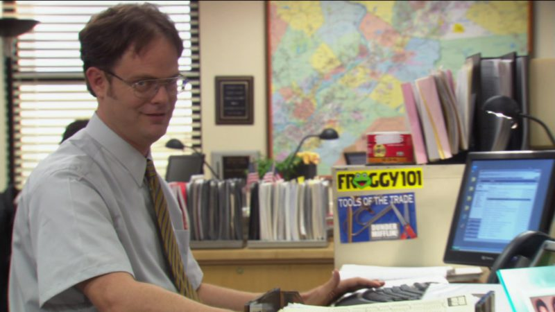 "Froggy 101 FM Scranton Radio Station Sticker in The Office – Season 2, Episode 8, ""Performance Review"" (2005) - TV Show Product Placement"