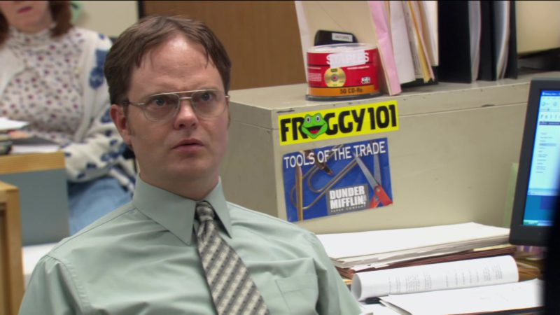 """Froggy 101 FM Scranton Radio Station Sticker in The Office – Season 2, Episode 9, """"Email Surveillance"""" (2005) - TV Show Product Placement"""