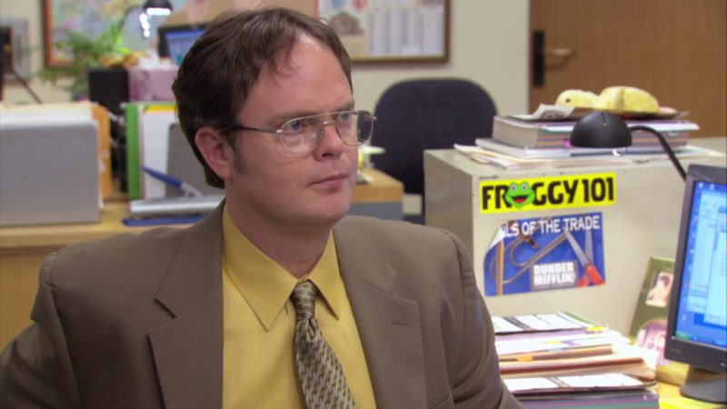 "Froggy 101 Radio Station Sticker in The Office – Season 3, Episode 15, ""Ben Franklin"" (2007) - TV Show Product Placement"