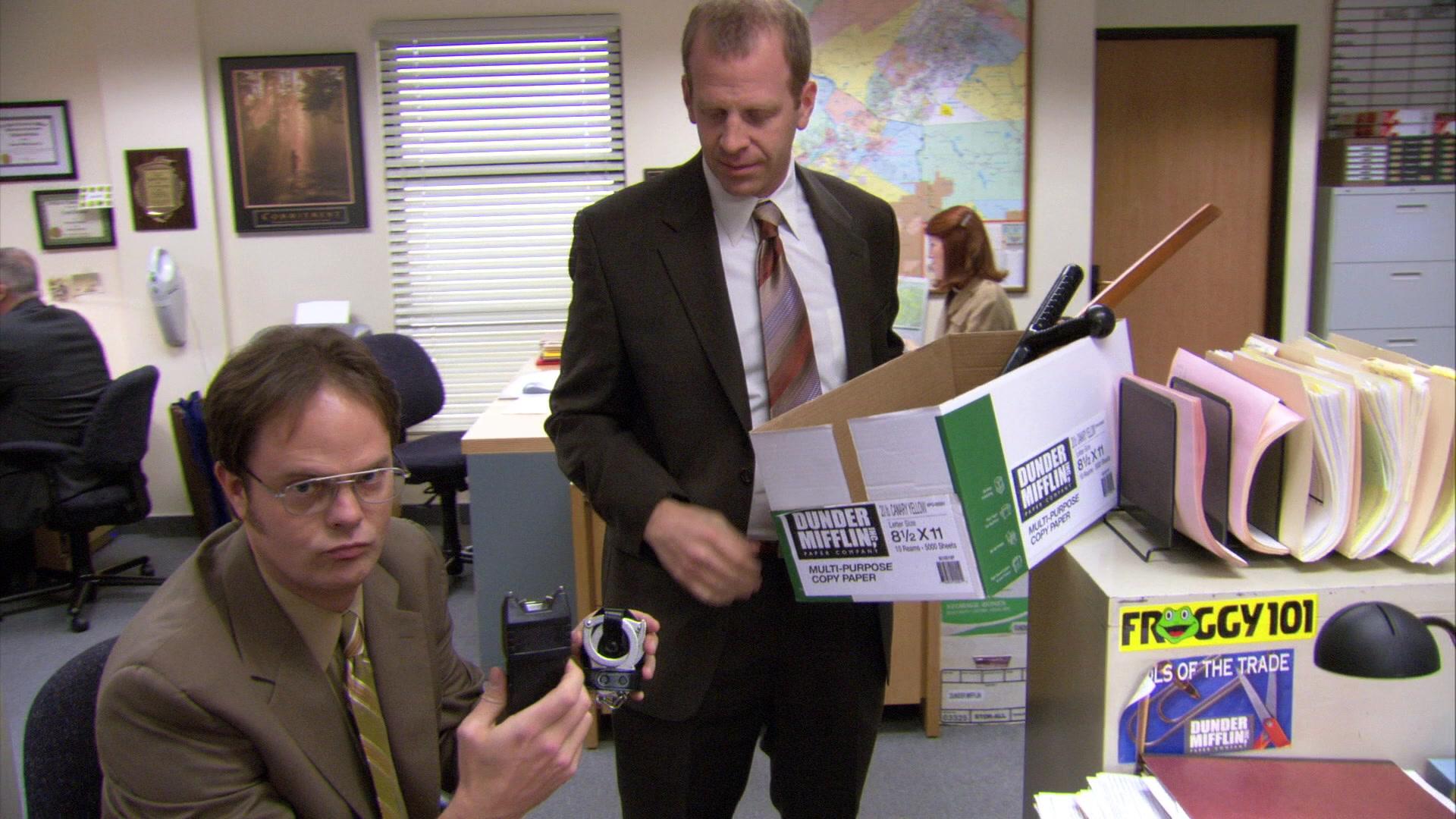 Froggy 101 radio station sticker in the office season 3 episode 19