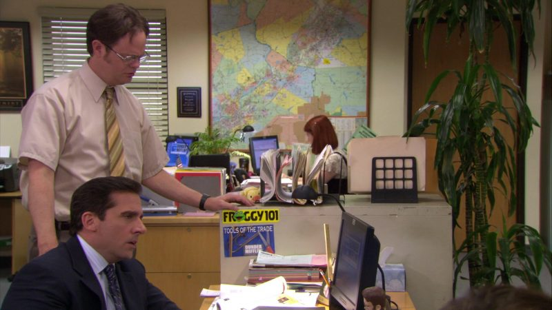 """Froggy 101 Radio Station Sticker in The Office – Season 4, Episode 14, """"Chair Model"""" (2008) - TV Show Product Placement"""