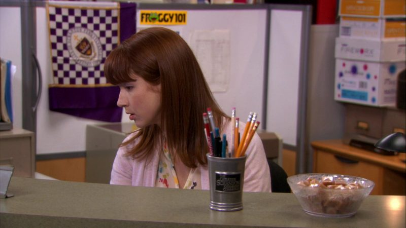 """Froggy 101 Radio Station Sticker in The Office – Season 7, Episode 21, """"Michael's Last Dundies"""" (2011) - TV Show Product Placement"""