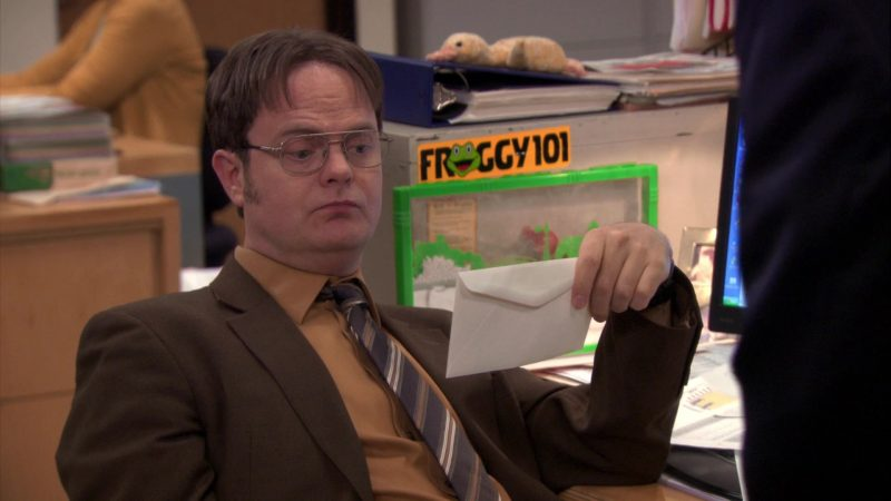 """Froggy 101 Radio Station Sticker in The Office – Season 7, Episode 22, """"Goodbye, Michael"""" (2011) - TV Show Product Placement"""