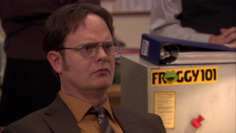 "Froggy 101 Radio Station Sticker in The Office – Season 7, Episodes 25-26, ""Search Committee"" (2011) - TV Show Product Placement"