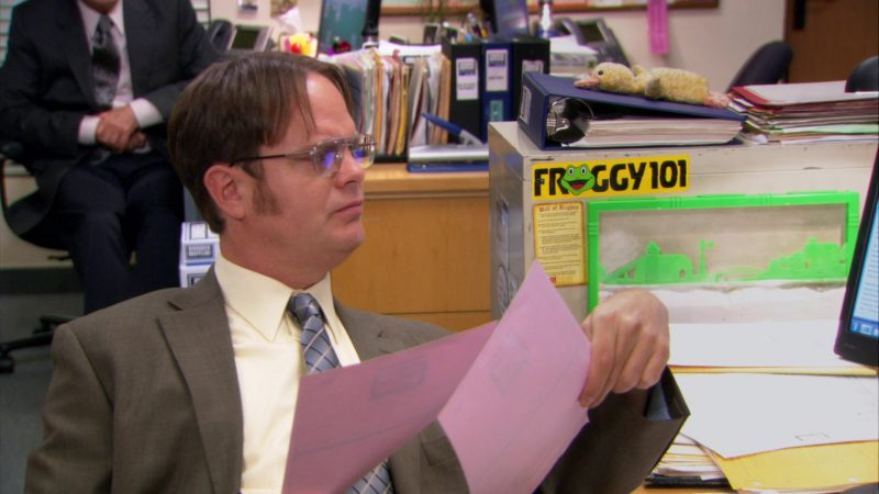 """Froggy 101 Radio Station Sticker in The Office – Season 8, Episode 20, """"Welcome Party"""" (2012) - TV Show Product Placement"""