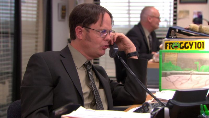 """Froggy 101 Radio Station Sticker in The Office – Season 9, Episode 16, """"Moving On"""" (2013) - TV Show Product Placement"""