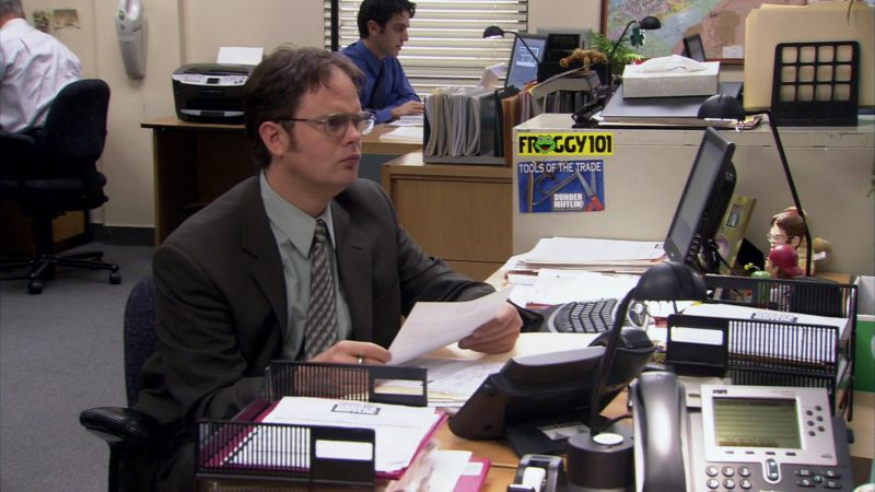 "Froggy 101 Radio Sticker in The Office – Season 2, Episode 19, ""Michael's Birthday"" (2006) - TV Show Product Placement"