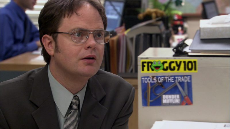 """Froggy 101 Radio Sticker in The Office – Season 2, Episode 19, """"Michael's Birthday"""" (2006) TV Show Product Placement"""