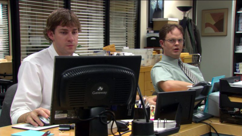 "Gateway Computer Monitor Held by John Krasinski (Jim Halpert) in The Office – Season 2, Episode 9, ""Email Surveillance"" (2005) TV Show Product Placement"