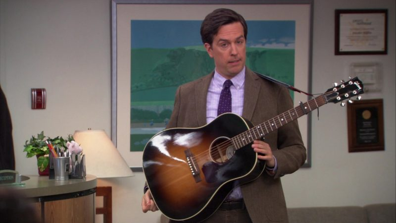 """Gibson Guitar Used by Ed Helms (Andy Bernard) in The Office – Season 9, Episode 21, """"Livin' the Dream"""" (2013) - TV Show Product Placement"""