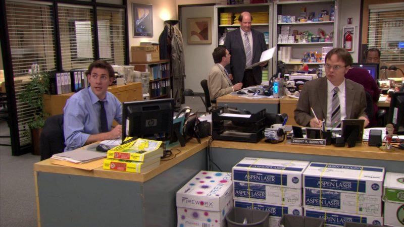 "HP Computer Monitor Used by John Krasinski (Jim Halpert), Boise Fireworx and Aspen Laser Paper in The Office – Season 5, Episode 25, ""Broke"" (2009) TV Show Product Placement"