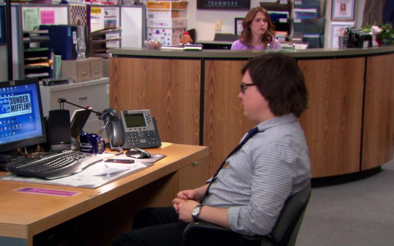 HP Computer Monitor and Cisco Phone Used by Clark Duke (Clark Green) in The Office