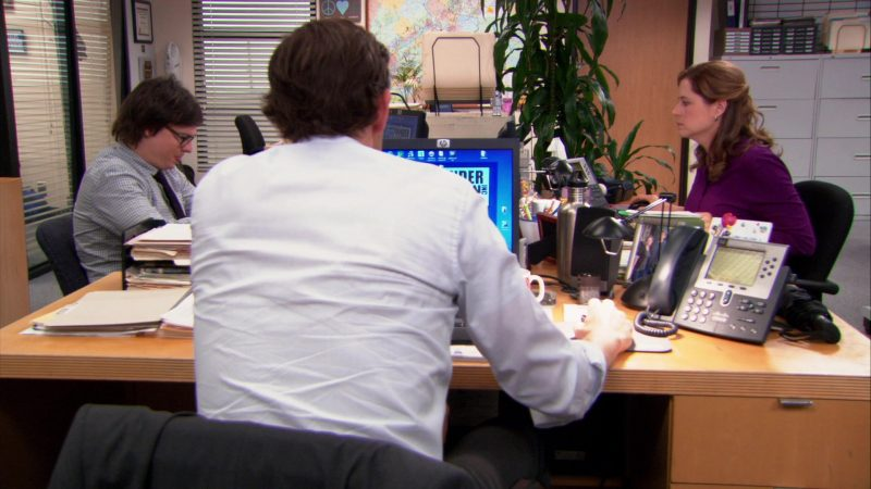 """HP Computer Monitor and Cisco Phone Used by John Krasinski (Jim Halpert) in The Office – Season 9, Episode 20, """"Paper Airplane"""" (2013) - TV Show Product Placement"""