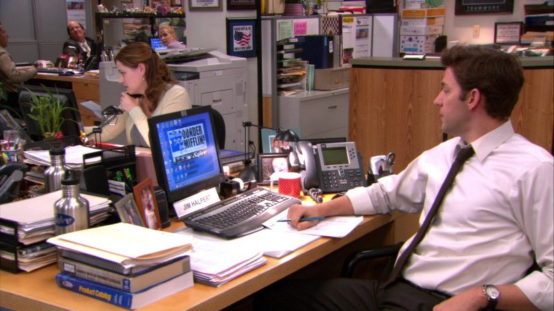 "HP Monitor & Cisco Phone Used by John Krasinski (Jim Halpert) in The Office – Season 8, Episode 19, ""Get the Girl"" (2012) TV Show Product Placement"