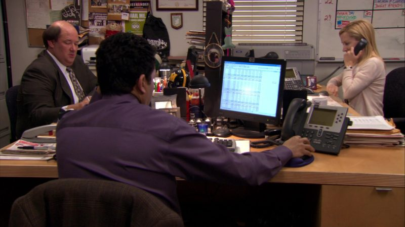 """HP Monitor & Cisco Phone Used by Oscar Nunez (Oscar Martinez) in The Office – Season 7, Episodes 25-26, """"Search Committee"""" (2011) - TV Show Product Placement"""