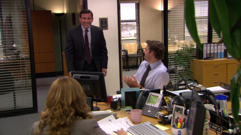 """HP Monitor Used by John Krasinski (Jim Halpert) & Cisco Phone Used by Jenna Fischer (Pam Beesly) in The Office – Season 5, Episode 28, """"Company Picnic"""" (2009) - TV Show Product Placement"""