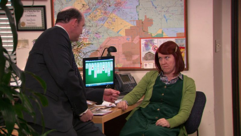 """HP Monitor and Cisco IP Phone Used by Kate Flannery (Meredith Palmer) in The Office – Season 9, Episode 17, """"The Farm"""" (2013) - TV Show Product Placement"""