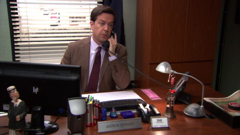"""HP Monitor and Cisco Phone Used by Ed Helms (Andy Bernard) in The Office – Season 9, Episode 19, """"Stairmageddon"""" (2013) TV Show Product Placement"""