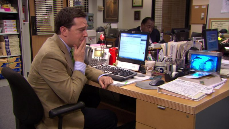 """HP Monitor and Cisco Phone Used by Ed Helms (Andy Bernard) in The Office – Season 6, Episodes 4-5, """"Niagara"""" (2009) TV Show"""