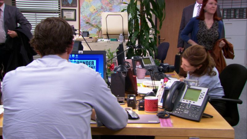 "HP Monitor and Cisco Phone Used by John Krasinski (Jim Halpert) in The Office – Season 9, Episode 1, ""New Guys"" (2012) - TV Show Product Placement"