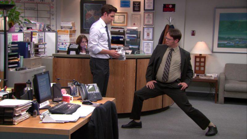 "HP Monitor and Cisco Phone Used by John Krasinski (Jim Halpert) in The Office – Season 9, Episodes 22-23, ""A.A.R.M."" (2013) TV Show"