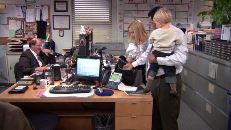 """HP Monitor and Cisco Phone Used by Oscar Nunez (Oscar Martinez) in The Office – Season 9, Episodes 22-23, """"A.A.R.M."""" (2013) TV Show"""