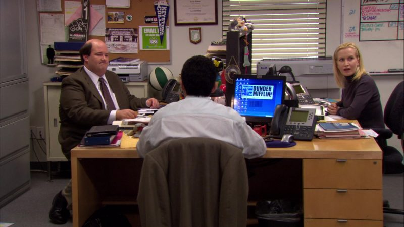 """HP Monitor and Cisco Phone Used by Oscar Nunez (Oscar Martinez) in The Office – Season 6, Episode 20, """"New Leads"""" (2010) - TV Show Product Placement"""