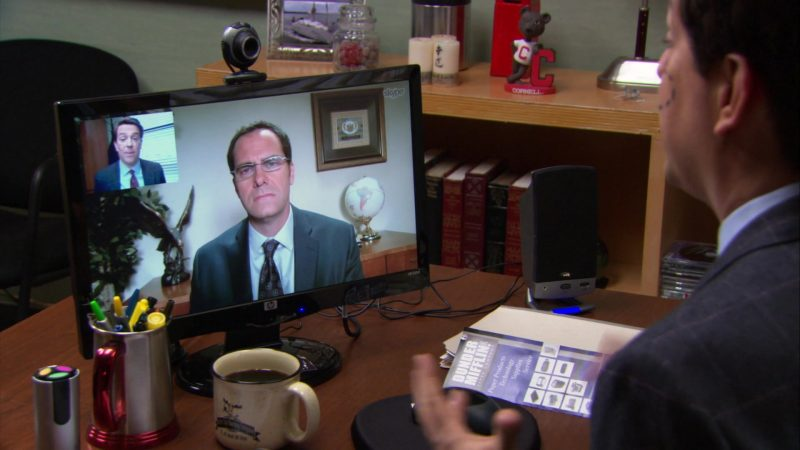 """HP Monitor and Skype Application Used by Ed Helms (Andy Bernard) in The Office – Season 9, Episode 21, """"Livin' the Dream"""" (2013) - TV Show Product Placement"""