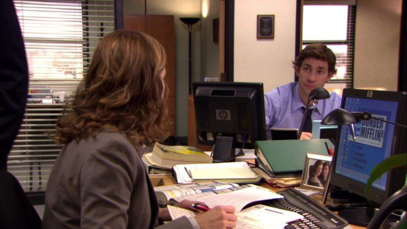 "HP Monitors Used by Jenna Fischer (Pam Beesly) and John Krasinski (Jim Halpert) in The Office – Season 6, Episode 1, ""Gossip"" (2009) TV Show"