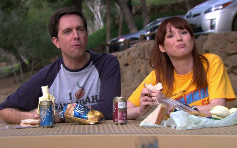 Herr's Chips Enjoyed by Ed Helms (Andy Bernard) and Ellie Kemper (Erin Hannon) in The Office
