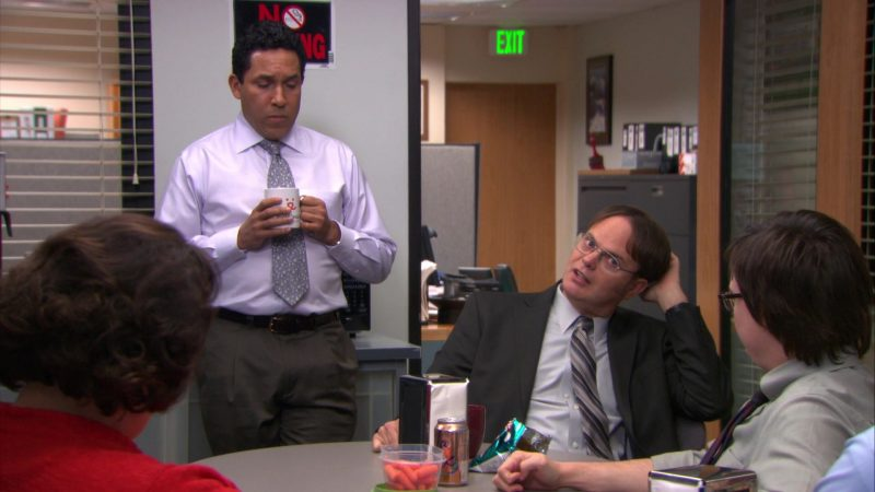 """LaCroix Sparkling Water Can Enjoyed by Clark Duke (Clark Green) in The Office – Season 9, Episode 15, """"Couples Discount"""" (2013) - TV Show Product Placement"""
