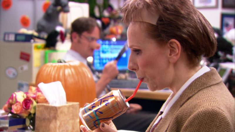 """LaCroix Sparkling Water Can Held by Catherine Tate (Nellie Bertram) in The Office – Season 9, Episode 5, """"Here Comes Treble"""" (2012) TV Show Product Placement"""