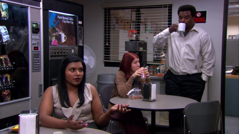 "LaCroix Sparkling Water Can Held by Kate Flannery (Meredith Palmer) in The Office – Season 8, Episode 21, ""Angry Andy"" (2012) - TV Show Product Placement"