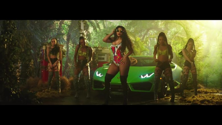 Lamborghini Huracan Green Sports Car in Megatron by Nicki Minaj (2019) Official Music Video