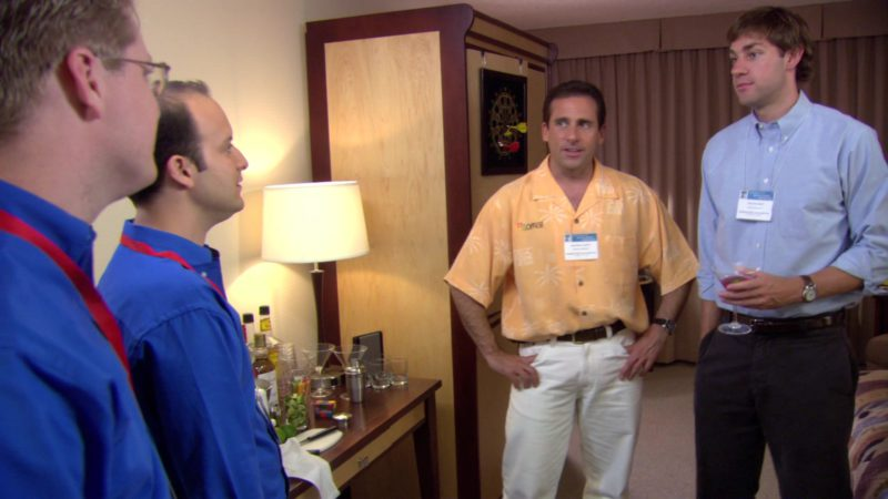 """Microsoft Office Shirt Worn by Steve Carell (Michael Scott) in The Office – Season 3, Episode 2, """"The Convention"""" (2006) - TV Show Product Placement"""