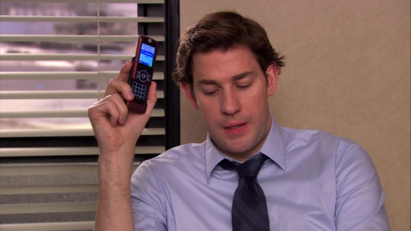 "Motorola Slider Cell Phone Used by John Krasinski (Jim Halpert) in The Office – Season 6, Episode 21, ""Happy Hour"" (2010) - TV Show Product Placement"