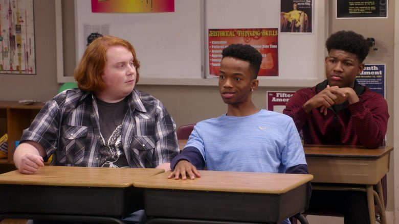 "Nike Blue Long Sleeve Tee Worn by Coy Stewart in Mr. Iglesias - Season 1, Episode 10, ""Academic Decathlon"" (2019) TV Show"