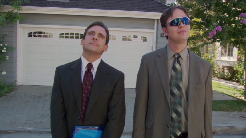 """Oakley Sunglasses Worn by Rainn Wilson (Dwight Schrute) in The Office – Season 2, Episode 3, """"Office Olympics"""" (2005) - TV Show Product Placement"""